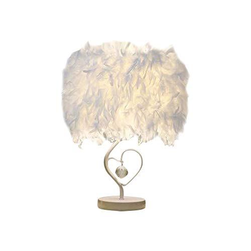 Federn Tischlampe Weiß Feder Nachttischlampe Retro Tischleuchte für Schlafzimmer Wohnzimmer moderne Lichter Kristall Deko Basis E27 Kunstlich Tischleuchte mit Schalter Kabel (B)