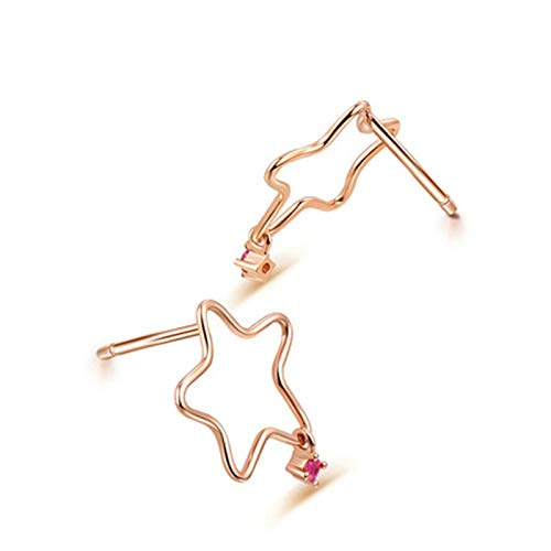 Aeici 18K Rose Gold Rings for Women Women Earrings Studs Hollow Star Pink Diamond Stud Earrings Rose Gold