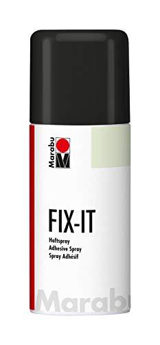 Marabu 23112006000 - Fix it Haftspray, zum mehrfachen Fixieren von Schablonen aus Papier, Karton und Kunststoff, mit Wasser abwaschbar, für exakte Motivkonturen, 150 ml, transparent