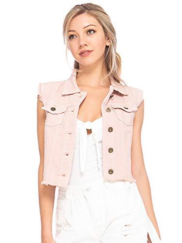 Anna-Kaci Womens Juniors Cotton Denim Blue Sleeveless Crop Jacket Jean Vest, Pink, Medium