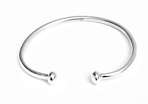 TreasureBay Damen Massiver 925 Sterling Silber Bar Armreif Armband Torque Silber Armreif