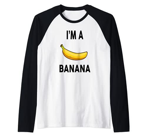 Disfraz de plátano para Halloween con diseño de plátano Camiseta Manga Raglan
