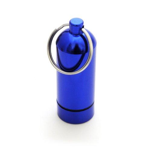 Mini-capsule étanche-boîte de rangement pour petits objets, porte-clés piluliers étanches avec capuchon à visser en acier inoxydable fermeture à vis avec joint en caoutchouc-hauteur : 55 mm, composition : alu, couleur : bleu électrique ganzoo