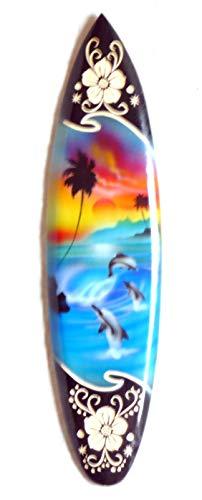 Asia Design Tabla de surf en miniatura decorativa de madera, altura de 20 cm, incluye soporte de madera, decoración # 3a