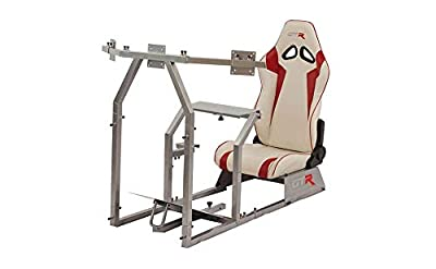 GTR Simulator GTAF-S-S105LWHTRD - GTA-F Model (Silver) Triple or Single Monitor Stand with White/Red Adjustable Leatherette Seat, Racing Simulator Cockpit Gaming Chair Single Monitor Stand