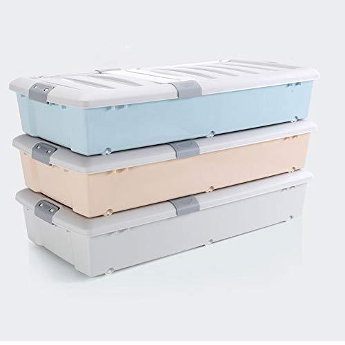 GXCNINIO Opbergbox voor kleding, wielbeweging, 3-delige set met afdekking bedbodem, opbergdozen, ladentype, plat op elkaar verbonden speelgoed, grote containers