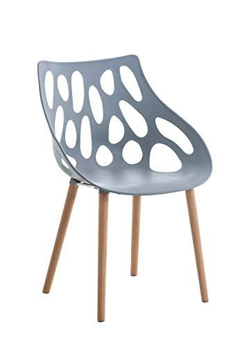 CLP Chaise Retro Hailey en Plastique - Chaise Design à 4 Pieds en Bois d'Hêtre - Hauteur de l'Assise 44 cm et Dossier Large - Facile d'entretien, Couleurs:Gris