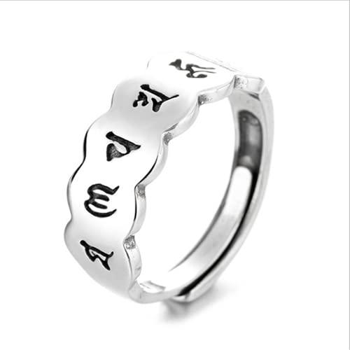 PuuuK S925 Sterlingsilber Kreative Sechs Zeichen Mantra Ring Medaillon Daming Mantra Herz Sutra Retro Persönlichkeit Zeigefinger Ring Damen Schmuckzubehör