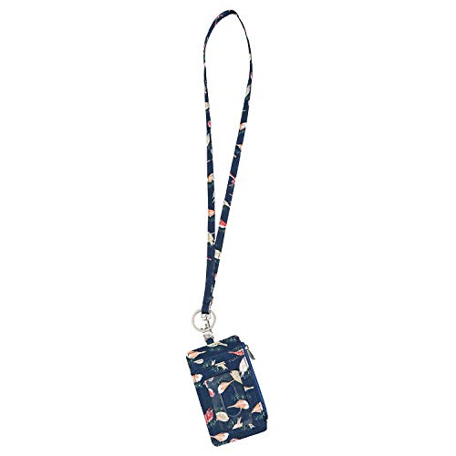 Lam Gallery Fashion Zip ID Card Case Wallet with Lanyard for Womens ID Badge Lanyard Wallets for Student and Office (Dark Blue Birds)