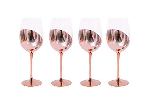 Rotweinglas für Wein und Bar Rotweingläser, kupferfarbene Stielgläser mit Metallbeschichtung, 414 ml, 4 Stück (Roségold)
