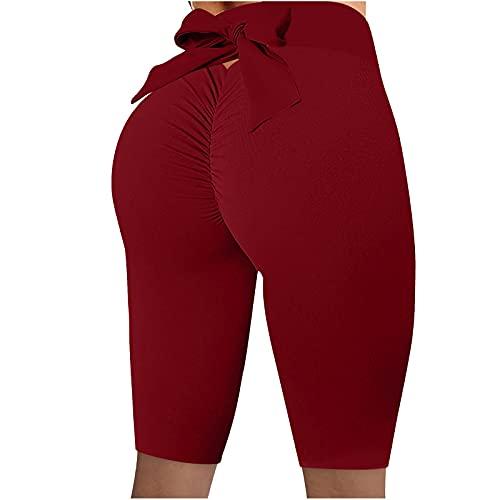 ZEZKT Pantalones de Yoga para Mujer Leggings de Entrenamiento Sexy Bowknot Yoga Pantalones Pantalones Alta Cintura Yoga Elásticos Fitness Seamless Push Up Butt Lifter Pants Mallas Leggings
