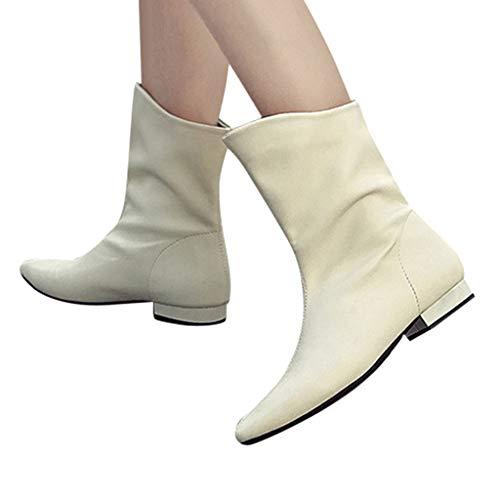 Mittellange Stiefel Damen Ritter Stiefel Retro Motorradstiefel Stiefeletten Dicke Stiefel Ferse Stiefeletten Schuhe Outdoor rutschfeste Boots