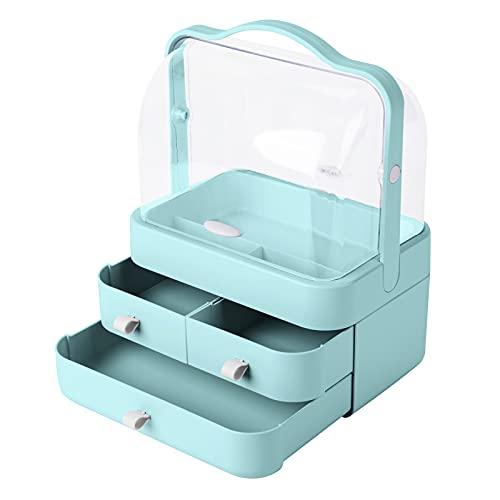 YGJT Organizador de Maquillaje Cajones, Caja Cosméticos Transparente Acrzl Impermeable a Prueba de Polvo con Tapa y Asa, Organizador de Escritorio Cajones, Organizador Tocador Baño(Tiffany Azul)