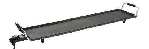 HENDI Teppan Yaki Grillplatte, Antihaftbeschichtung, stabile Griffe, Abnehmbarer stufenlos verstallbarer Steckerthermostat, 230V, 1800W, 900x230x(H)110mm, Aluminium