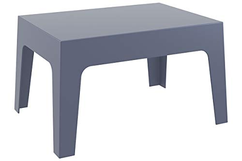 CLP Gartentisch Box Kunststoff I Stapelbarer Beistelltisch I Wetterfester Outdoor-Tisch, Farbe:dunkelgrau