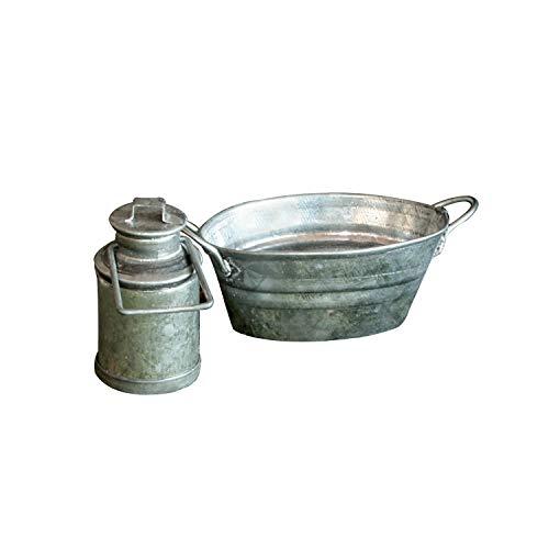 SELVA Lot de 3 pièces - Seau, pot à lait et bac en tôle galvanisée - Détails remarquables dans chaque crèche - Idéal pour les figurines entre 8 et 13 cm - Un plaisir pour petits et grands