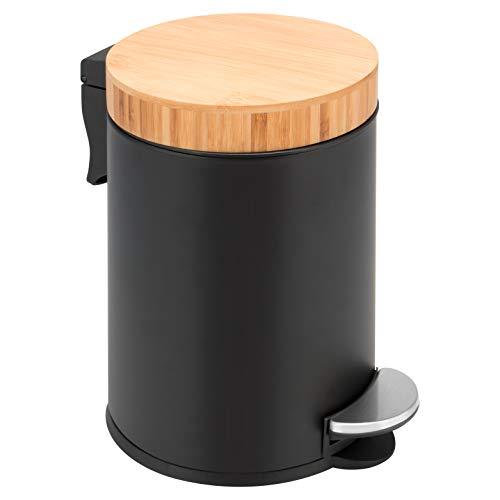 Cubo de basura con pedal de 3 litros con tapa de bambú de metal pulverizado, color negro mate