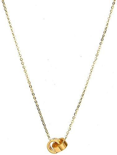 FACAIBA Collar Cadena de clavícula de Acero Inoxidable Dorado Simple Anillo Doble Novia para Enviar joyería Perfecta Regalo