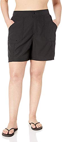 Maxine Of Hollywood Women's Plus Size 7'' Woven Swim Short, Black//Solid, 20W