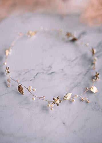 Kercisbeauty Goldener Blumen-Haarreif mit Perlen, Kopfschmuck für Hochzeit, Brautschmuck, Haarschmuck für Bräute, Frauen, handgefertigter Schmuck, Blatt-Diadem