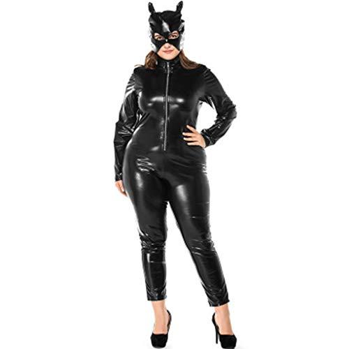 Fette Leute Spiel Uniform Anzug Katze Mädchen Leder Modell schwarz Nasser Aussehen Overall + Hut,Schwarz