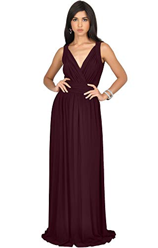 KOH KOH Plus Size Womens Long Sleeveless Flowy Bridesmaids Cocktail Party Evening Formal Sexy Summer Wedding Guest Ball Prom Gown Gowns Maxi Dress Dresses, Maroon Wine Red 2XL 18-20