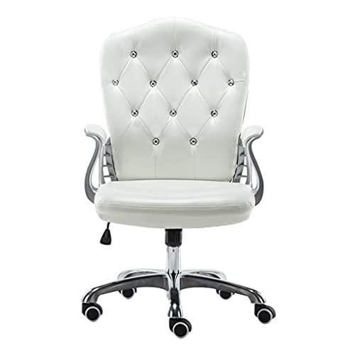 Silla de ordenador con reposabrazos, sillas ergonómicas de respaldo alto, sillas de trabajo de cuero, ruedas, cómodo, ajustable, giratorio asiento administrativo.52 x 48 x 60 cm