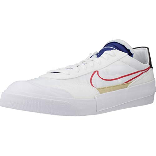 Nike Drop-Type, Running Shoe Mens, Blanco/Azul Royal Intenso/Negro/Rojo Universitario, 40.5 EU