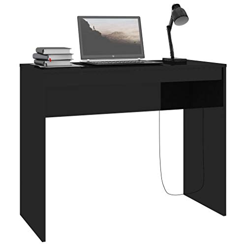 Festnight Scrivania Tavolo per Computer da Ufficio Scrittoio Design Moderno Tavolo Consolle 90 x 40 x 72 cm Colore Bianco Lucido/Nero Lucido