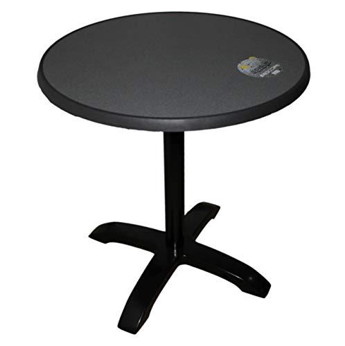 Bistrotisch Alugestell schwarz abklappbar Sevelit Tischplatte 70 cm rund Dekor Puntinella, wetterfest, außen, Tisch