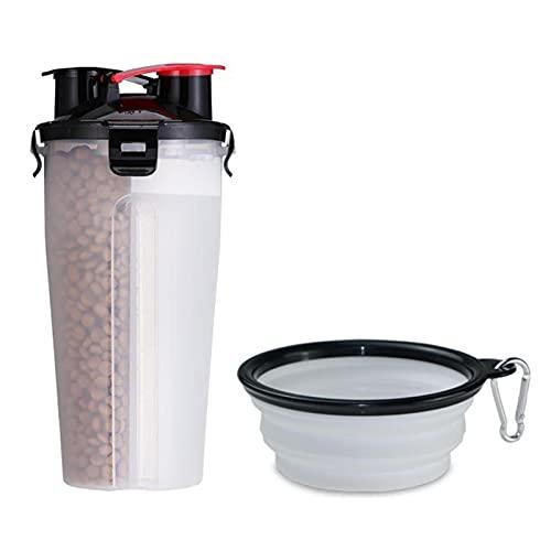 Ewha Dos Tazas de Comida para Mascotas Que salen de la Botella de Agua Potable portátil y la Botella de Agua Plegable para el Perro de la Comida del Perro al Aire Libre acompañando la Taza de Agua
