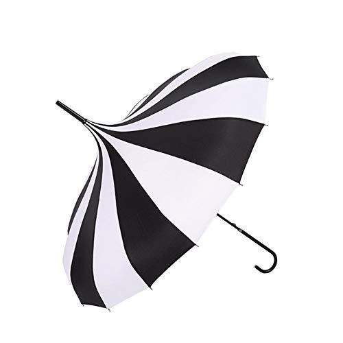 arbitra Langen Regenschirm Schwarze und Weiße, Damen Gothic Sonnenschirm Klassischen Winddicht Turm Pagode Stil Stockschirme für Sunny Rain Dual Use Performance Requisiten