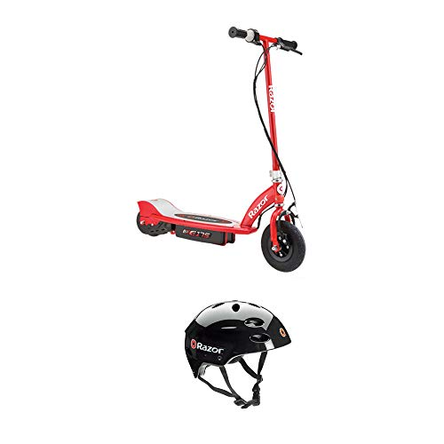 Razor E175 Rechargeable Electric Power Kids Scooter and V17 Helmet, Red & Black