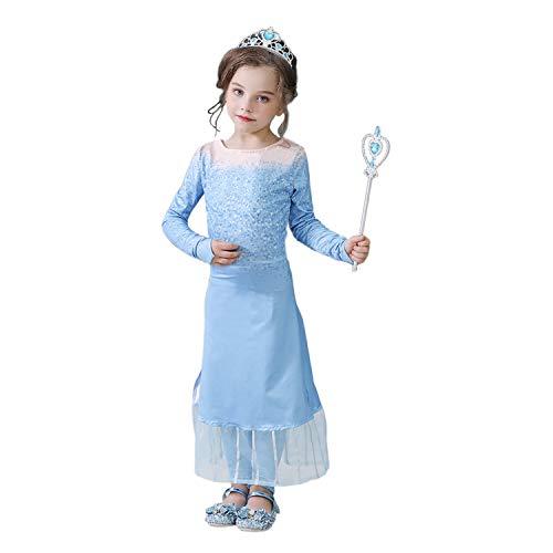 Vicloon Mädchen Kostüm ANNA und ELSA Kleid Eisprinzessin, Elsa Kostüm für Kinder mit Hose, Prinzessin Krone & Zepter, Eiskönigin Kostüm für Weihnachten,Halloween,Geburtstag,Familientreffen,Größe 140cm