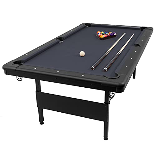 GoSports Mid-Size 7ft x 3.9ft Billiards Game Table - Foldable Design, Includes Full Set of Pool Balls, 2 Cue Sticks, Chalk, and Felt Brush