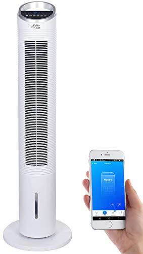 Sichler Haushaltsgeräte Turmventilator: 3in1-WLAN-Luftkühler mit App, für Siri, Alexa & Google Assistant, 60 W (Ventilator mit Wassertank)