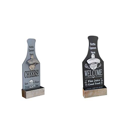 LOVIVER Juego de Abridor de Tapa de Metal con Soda de Barra de Botella de Cerveza Montado en La Pared de Madera Retro de 2 Piezas
