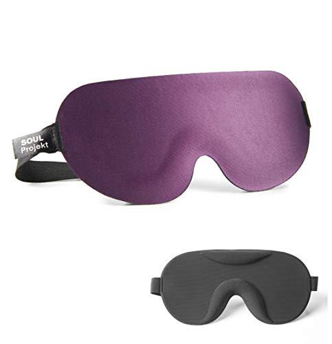 Soul Projekt Teil 3D Schlaf-Augenmaske für Männer & Frauen, Super verdunkelnde, Konturierte Schlafmaske, Beruhigende Augenmaske für die Nacht, 100{6c28478c7af821efdd56606ff652065c8b48a8e99295c8d0ec36aed65ff01164} verdunkelnde Augenbinde (Violett 3D)