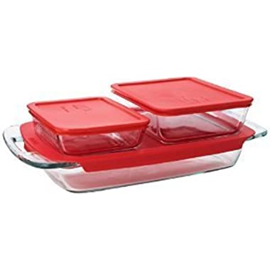 Premium High Quality Pyrex Easy Grab 6 piece value pack includes 1-each 3 quart oblong 3cup rectangle storage 6 cup rectangle storage Red Plastic Covers