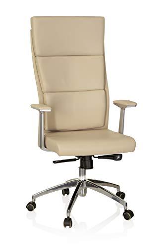 hjh OFFICE 600420 Sedia da ufficio/Sedia presidenziale MONZA 20 pelle marrone chiaro, meccanismo sincronizzato, schienale alto, braccioli con cuscinetti in pelle, elegante, robusta, base alluminio
