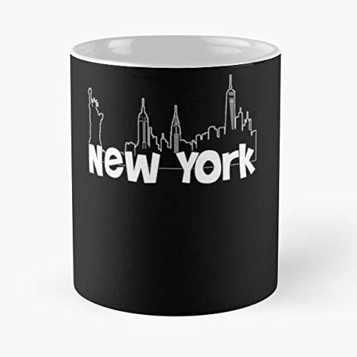 New Age Newschool Wave Skyline York Brooklyn Manhatten Mejor Taza de café de cerámica de 11 oz Personalizar