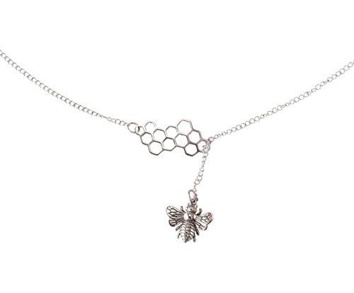 Gemshine Y-Halskette Anhänger Biene BEE mit Bienenwabe Panel 925 Silber, edel vergoldet oder rose - Nachhaltig, Fair Trade, Ethisch - Made in Spain, Metall Farbe:Silber