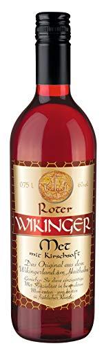 Roter Wikinger Met | 1 x 0,75L | Honigwein aus der Wikingerland Haithabu mit Kirschsaft | fruchtig aromatisch