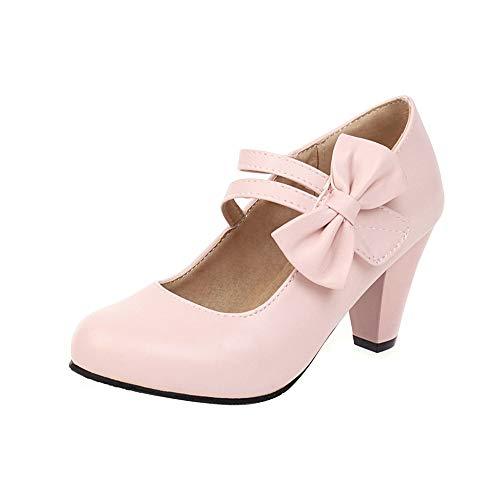NIGHT CHERRY Donna Dolce Mary Jane Scarpe Fiore Tacco Chunky Festa Vestito Scarpe Pink Numero 39 Asiatico