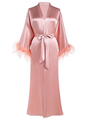 PRODESIGN long Kimono Robe Satin Sleepwear Gradient Watercolor Silky Kimono Nightgown Bathrobe Kimono Blouse Cardigan (Pink)