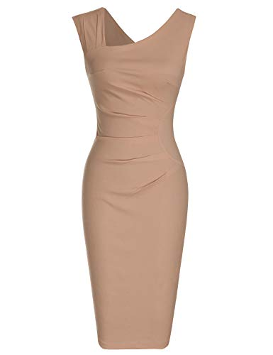 MUXXN Ladies Celebrity 1970s Style Solid Color Sleeveless Mid Length Graduation Dress (Camel L)