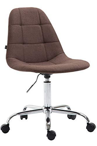 CLP Bürostuhl Reims Mit Stoffbezug I Schreibtischstuhl Mit Gestepptem Sitz I Höhenverstellbarer Arbeitsstuhl Mit Metallgestell, Farbe:braun