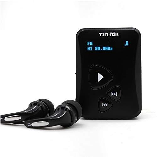 Tin-Nik DAB-398S tragbares DAB/DAB+/UKW-Radio, digitales Taschen-RDS UKW-Mini-Radio mit wiederaufladbarem Akku, Ohrhörer, OLED-Display für Sport, Laufen, Walken, Joggen oder Radfahren