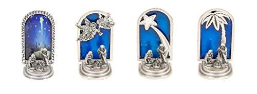 Pesebre navidad completo de plata chapeada - Miniatura Navidad de coleccionista - SET 4 piezas: Ángeles, Estrella Cometa, Palmera, Imagen - Decoración navideña
