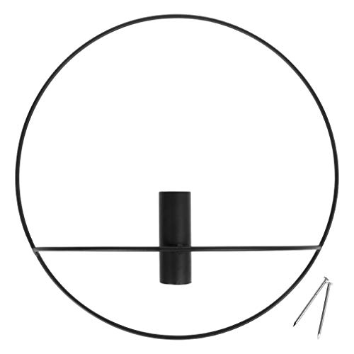 A0127 Candelabro de metal candelabro redondo geométrico 3D decoración candelabro de pared cena al candelabro decoración de la casa decoración de boda en familia (color negro, 29 cm)